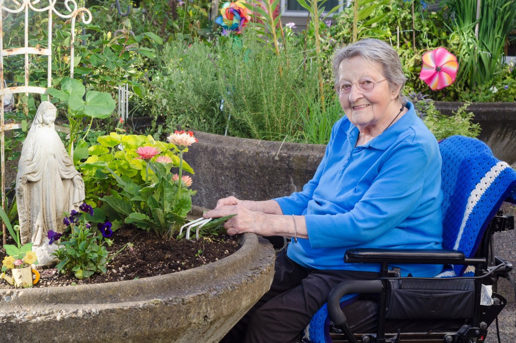 Happy Gardener In A Wheelchair